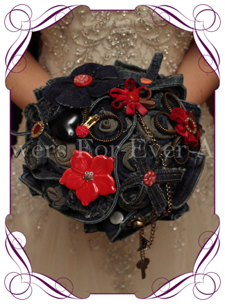 Unusual fabric flower rockabilly denim bridal bouquet wedding posy. Rockabilly wedding theme, Motorcycle wedding theme, red and blue denim. Made in Melbourne. Buy online