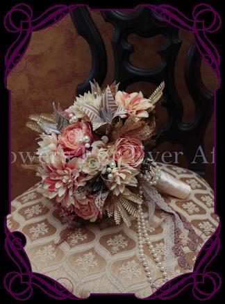 pink dahlia origami bridal bouquet