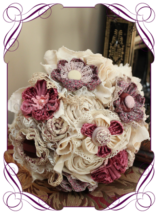 Cotton bouquet of handmade flowers. Perfect as a vintage wedding bouquet or a second wedding anniversary / cotton anniversary gift. Made in Melbourne. Buy online