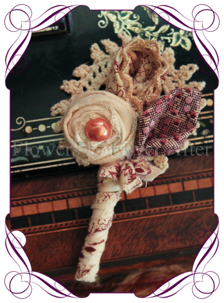 grooms rustic fabric flower button with hand made flowers for a vintage rustic country look