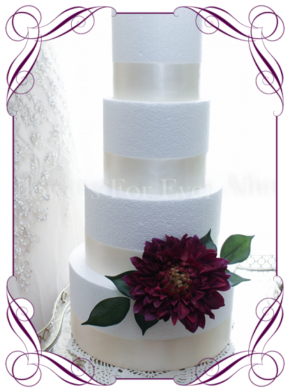 Plum Burgundy dahlia silk artifical wedding cake flowers decoration topper. Made in Melbourne. Ship world wide