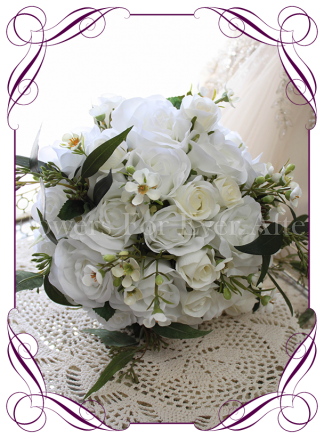 White silk artificial rustic boho wedding bouquet posy. Affordable bouquet design with roses, and Australian native flowers and foliage. Made in Melbourne, shipping worldwide.