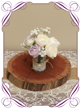 Lilac mauve and cream peony and baby's breath-rustic-style-silk-artificial-table-centrepiece-posy-for-wedding-table-decoration-mason-jar