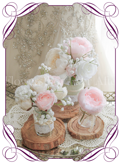 Blush-pink-peony-rustic-style-silk-artificial-table-centrepiece-posy-for-wedding-table-party-decoration-jar SET, with peonies, roses and baby's breath, babies breath. Buy online