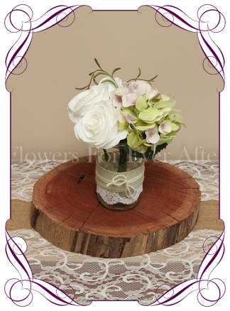 White rose green hydrangea rustic style silk artificial table centrepiece posy for wedding table party decoration mason jar
