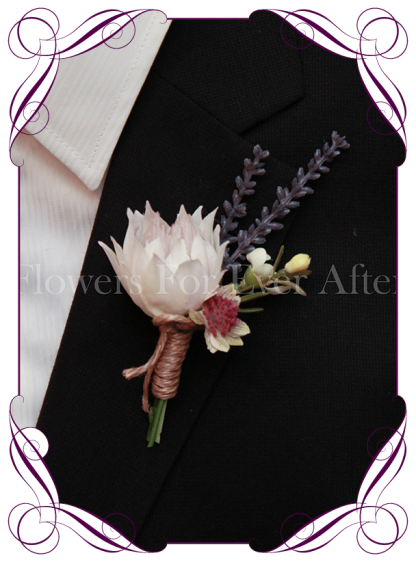 Silk artificial, rustic boho native protea grooms / groomsmans / fathers / gents boutonniere / wedding button with lavender and dusty pink. Made in Melbourne. Shipping worldwide