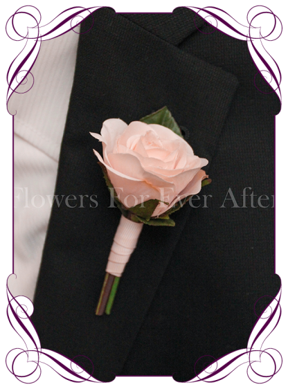 Silk artificial gents boutonniere / wedding button with a classic elegant light pink rose. Made in Melbourne. Shipping worldwide