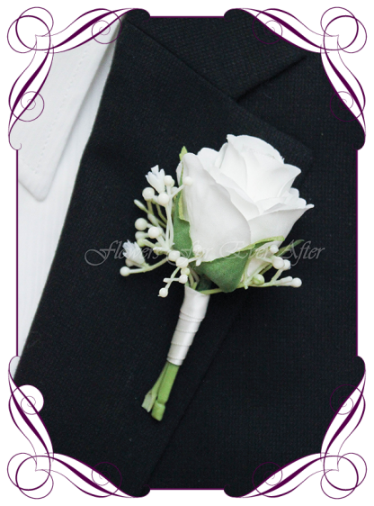 Classic white silk artificial gents wedding formal button boutonniere with babys breath