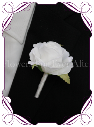 Classic white silk artificial gents wedding formal button boutonniere