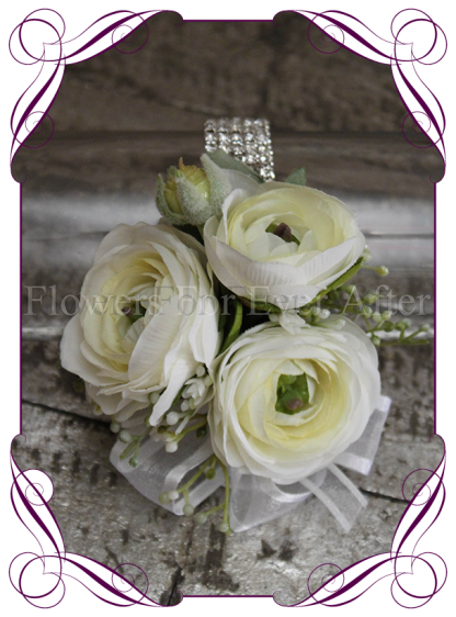 silk artificial ivory white ranunculus and baby's breath design for a formal / deb / prom / wedding ladies pinned corsage . Shipping world wide. Made in Melbourne Australia.