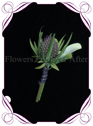 silk artificial purple thistle in a whimsical rustic meadow style for a formal / deb / prom / Scottish wedding gents grooms button boutonniere . Shipping world wide. Made in Melbourne Australia.