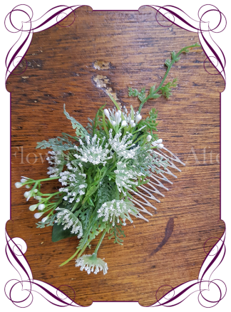 silk artificial whimsical baby's breath formal / deb / prom / wedding hair comb . Shipping world wide. Made in Melbourne Australia.