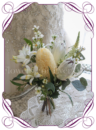 High quality realistic silk artificial bridesmaid posy wedding bouquet with soft yellow banksia, ivory white protea, mix Australian native flowers and gum leaves. Made in Melbourne Australia, shipped world wide. Buy online.