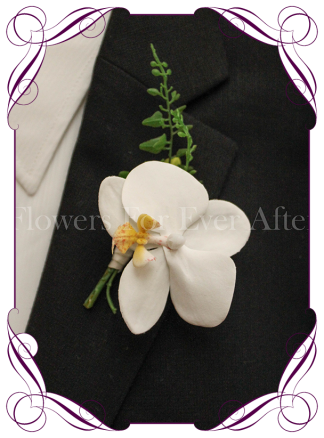 artificial white orchid gents / grooms button wedding / formal / prom flower