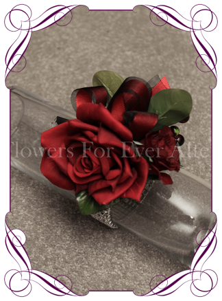 Silk artificial red rose and berry ladies formal / wedding / prom wrist corsage set on bling bracelet. Made in Australia, Buy online