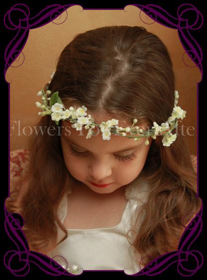 Silk artificial white boho rustic wedding flowergirl / flower girl hair crown / halo with fine dainty white flowers.