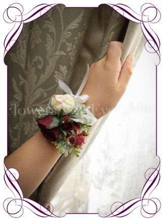 Silk artificial burgundy and cream ladies wrist corsage on ribbon for wedding / deb/ prom / formal