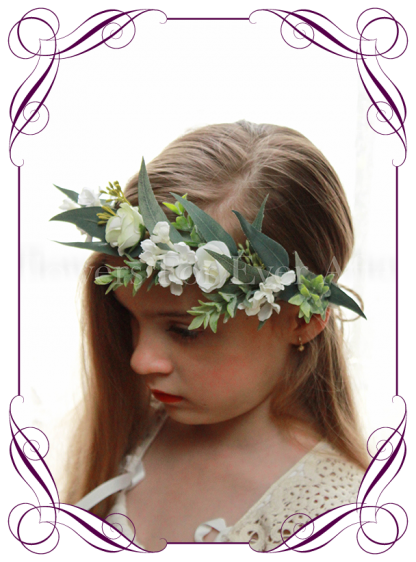 Silk artificial white wedding floral crown / halo with native gum foliage, white roses and fine white flowers. Made in Australia. Buy online.