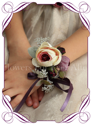 Silk artificial deep purple and cream ladies wrist corsage on ribbon for wedding / deb/ prom / formal