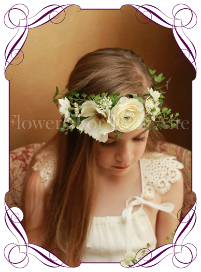 Silk artificial white boho wedding flower girls posy bouquet with ranunculi, cosmo, and dainty flowers and foliage.