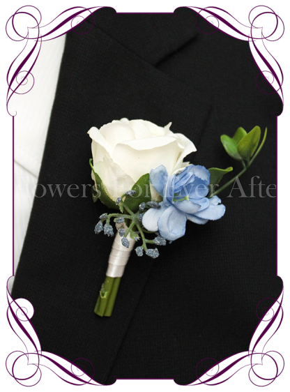 Silk artificial ivory white rose, baby blue, and navy gyp gents / mens / groom / groomsmans formal / wedding / prom button boutonniere flower . Made in Australia, Buy online