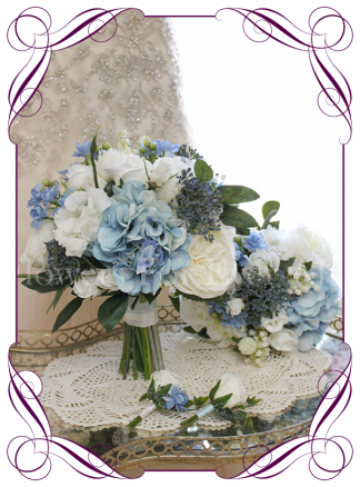 Silk artificial bridal posy bouquet package set with light blue, navy and white flowers for wedding bridal work. With hydrangea, dahlia, roses, lily of the valley. Buy online. Made in Melbourne.