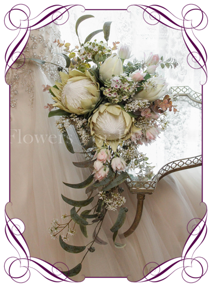 Silk artificial ivory and blush king protea rustic showering tear bridal bouquet. Shipping world wide. Made in Melbourne. Buy online.