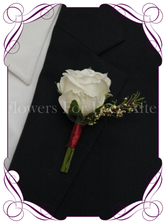 Silk artificial burgundy and ivory groom / groomsmans / gents wedding button boutonniere for wedding formal prom. Buy online.