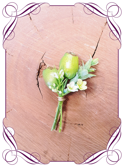 Silk artificial gum nut native rustic groom / groomsmans / gents wedding button boutonniere for wedding formal prom. Buy online.