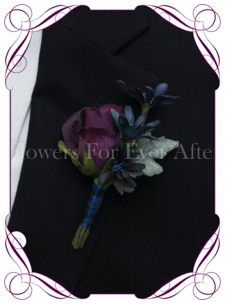 Silk artificial purple and blue rose groom / groomsmans / gents wedding button boutonniere for wedding formal prom. Buy online.