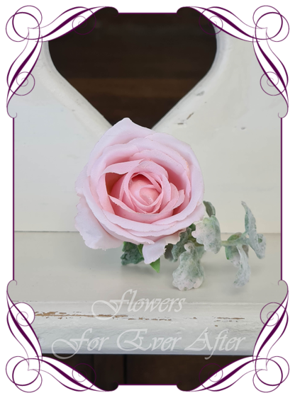 Silk artificial pink rose groom / groomsmans / gents wedding button boutonniere for wedding formal prom. Buy online.
