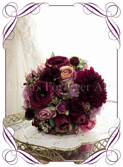 Silk artificial plum purple, pink, mauve and lilac mix romantic wedding bridal posy bouquet. Dahlia, roses, tulips, berries. Buy online. Shipping world wide