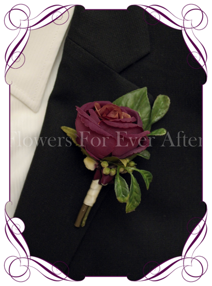 Silk artificial plum purple rose groom / groomsmans / gents wedding button boutonniere for wedding formal prom. Buy online.