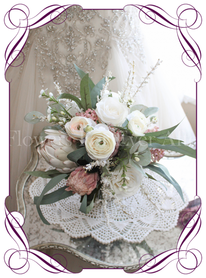 Silk artificial bridesmaids wedding posy bouquet with ivory and dusty pink protea and roses . Rustic romantic wedding flowers. Shipping from Melbourne Australia, worldwide. Buy online.