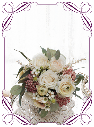 Silk artificial bridesmaids wedding posy bouquet with ivory and dusty pink roses and berries. Shipping from Melbourne Australia, worldwide. Buy online.