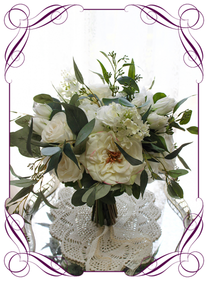 Silk artificial white and ivory peonies, roses and Australian native bridal bouquet wedding flowers. Romantic wedding. Navy wedding. Dusty pink wedding. Blush pink wedding. Mauve wedding. Realistic silk flowers, whimsical rustic style posy. Made in Melbourne. Shipping world wide, buy online.