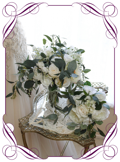 Silk artificial white and ivory peonies, roses and Australian native bridal bouquet wedding flowers package / set. Romantic wedding. Navy wedding. Dusty pink wedding. Blush pink wedding. Mauve wedding. Realistic silk flowers, whimsical rustic style posy. Made in Melbourne. Shipping world wide, buy online.