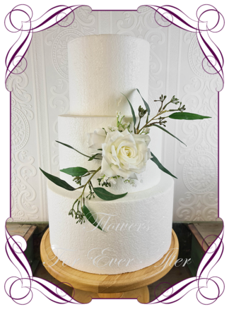 Silk artificial rustic boho white roses baby's breath and gum leaves wedding engagement cake topper decoration. Made in Melbourne Australia by Australia's best silk florist.