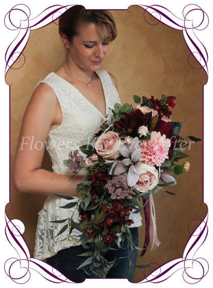 Silk artificial dusty pink, blush, mauve, and burgundy peonies, roses and Australian native cascading / showering bridal bouquet wedding flowers. Burgundy wedding. Navy wedding. Dusty pink wedding. Blush pink wedding. Mauve wedding. Boho, whimsical rustic style posy. Made in Melbourne. Shipping world wide, buy online.