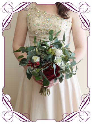 Artificial Faux flower Bridal bouquet posy, featyuring silk foliage, & roses. Made by Melbournes best Artificial Bridal Florist, Flowers For Ever After. Custom Orders Welcome, Shipping Worldwide