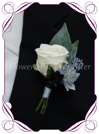 Silk artificial dusty blue, navy and white rose mens gents button boutonniere for wedding formal prom.