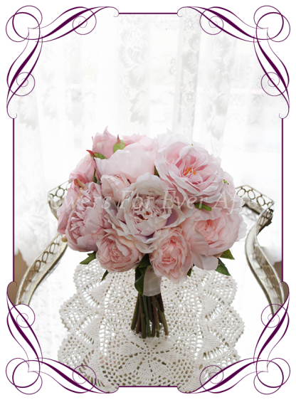Silk artificial romantic pink peony and rose bridesmaid bouquet elegant posy with pink, blush and rose gold peonies and roses / flowers. For wedding bridal flower package. Made in Melbourne Australia. Shipping world wide.