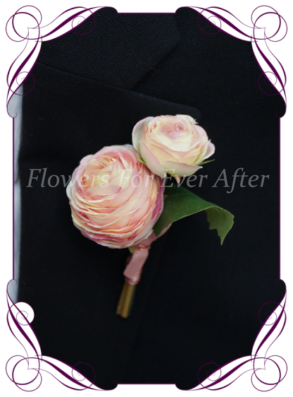 Silk artificial mixed pink ranunculi mens gents button boutonniere for wedding formal prom.