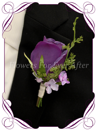 Silk artificial Cadbury purple rose with lilac mens gents button boutonniere for wedding formal prom.