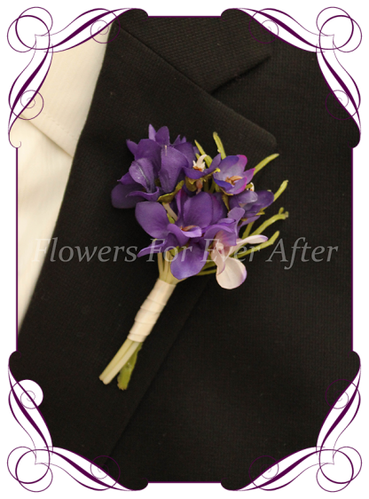 Silk artificial Cadbury purple violets mens gents button boutonniere for wedding formal prom.