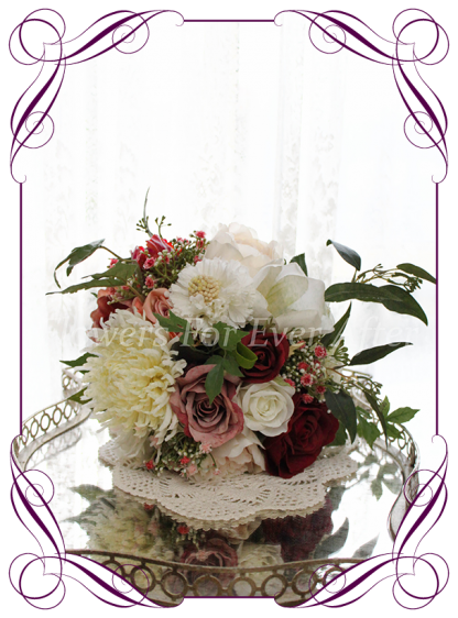 Silk artificial burgundy, ivory, and dusty pink elegant wedding bridal bouquet posy. Roses, scabiosa, baby's breath,chrysanthemum, native gum foliage leaves, peonies. Made in Melbourne Australia, quick post worldwide. Ready to go bouquet. Elopement. Eloping bouquet flowers.
