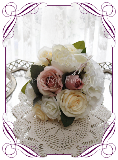 Silk artificial ivory, cream, and dusty pink elegant wedding bridesmaid bouquet posy. Roses, scabiosa, peonies. Made in Melbourne Australia, quick post worldwide. Ready to go bouquet. Elopement. Eloping bouquet flowers.