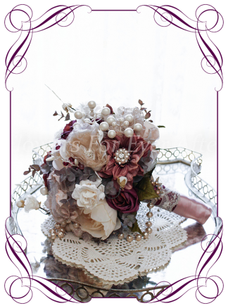 Silk artificial flower jewel and pearl antique vintage style bridal bouquet with matching pieces available wedding bouquet. Fabric flowers, bling, faux peonies and roses. Shipping world wide. Made in Melbourne by Australia's Best Artificial Bridal Florist