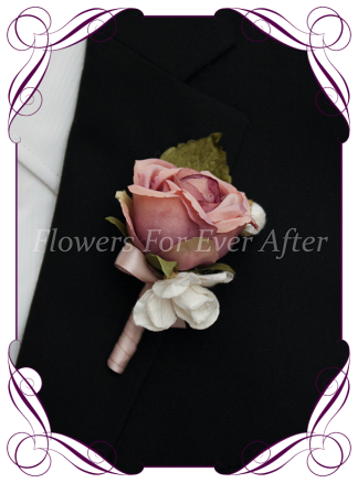 Silk artificial mixed dusty pink rose bud mens gents button boutonniere for wedding formal prom.