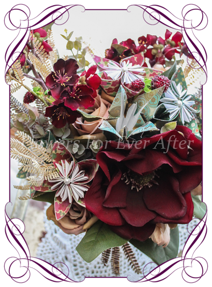 Silk artificial burgundy, champagne and paper origami moody vintage style bridal wedding bouquet. Paper origami flowers, blossom, magnolia, and roses. Shipping world wide. Made in Melbourne Australia